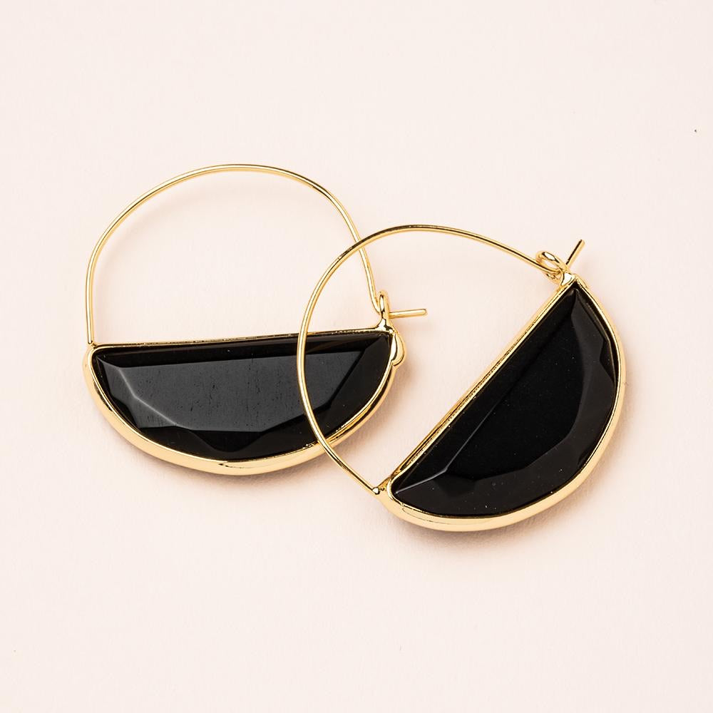 Stone Prism Hoop Earrings - Black Spinel & Gold