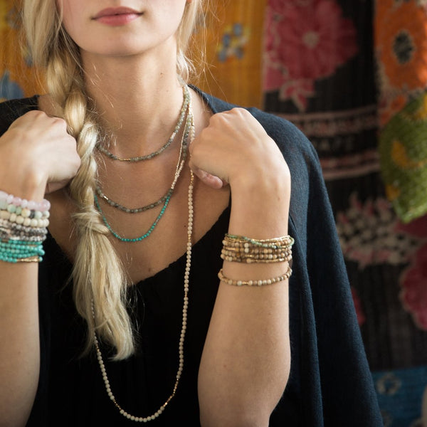 Genuine Stone Wrap Bracelet/Necklace Mexican Onyx from Scout Curated