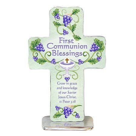 First Communion Pewter Cross with Color