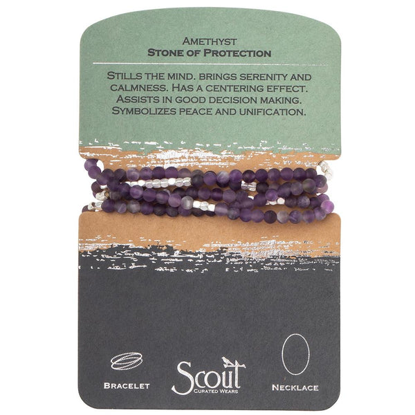 Genuine Stone Wrap Bracelet/Necklace Amethyst from Scout Curated