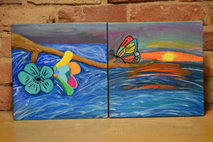 "Set of 2 10""x10"" Painting"