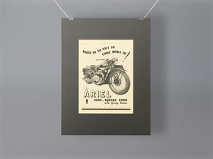 1944 Ariel 1000cc Square Four Mounted Advert
