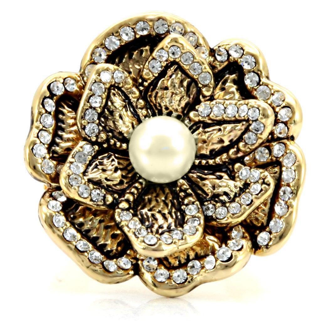 Gold Brass Ring with Pearl in Citrine