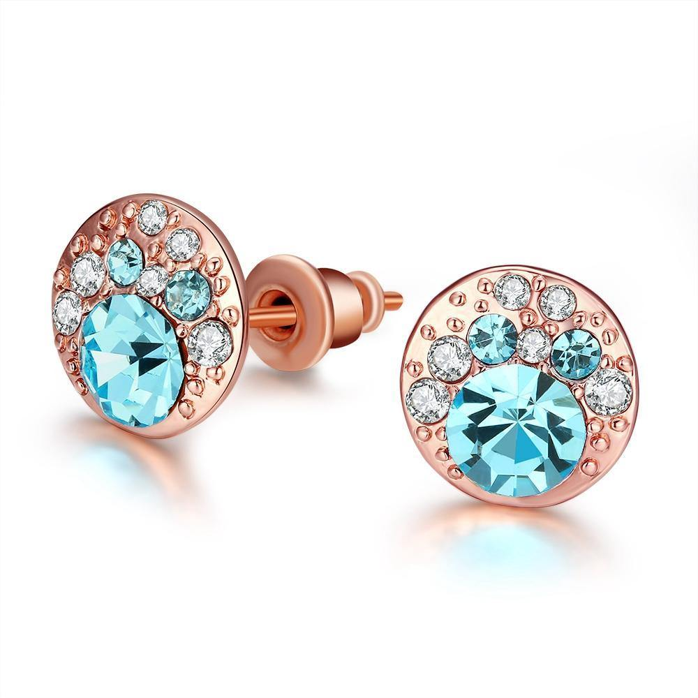 Earrings 18K Rose Gold Plated with Aquamarine Stud Earrings