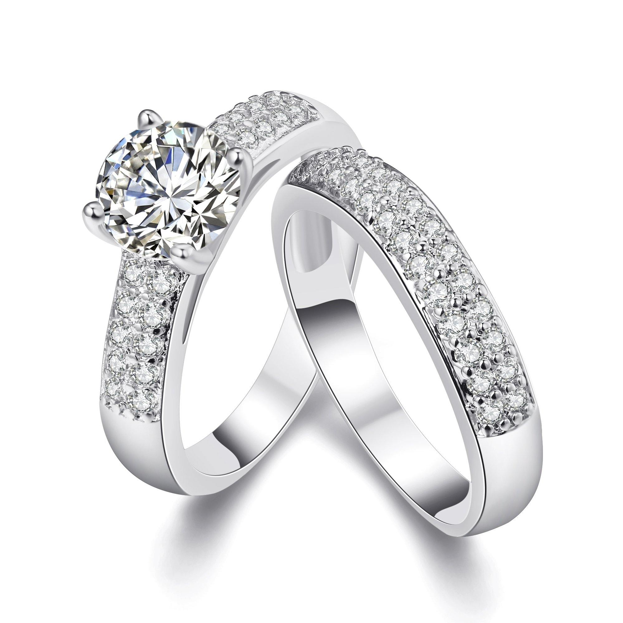 18K White Gold Plated Pave Band and Round Classic Crystal Ring Set