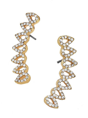 Earrings 14K Gold Plated Swarovski Elements Curved Crawler Earrings