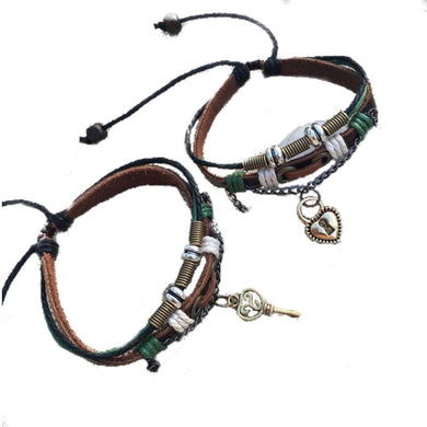 Bracelets Lock And Key Leather Couple Bracelets [1 Lock & 1 Key Bracelet Set]