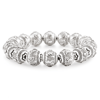 Silver Buddhist Prayer Beaded Bracelet - Bracelets - Ring to Perfection