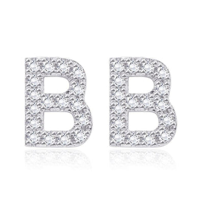 Earrings Initial Studs Earring in 18K White Gold Plated with Swarovski Crystals