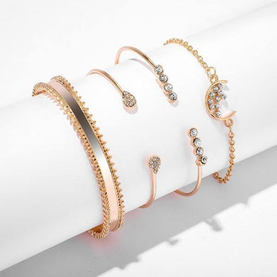 Bracelets White Crystal Celestial 4 PC Bangle Set in 14K Gold