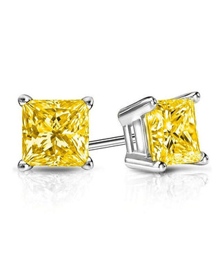 Earrings 6mm Princess Stud Earring With Swarovski® Crystals -Yellow in 18K