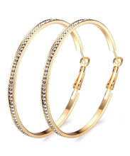 "Load image into Gallery viewer, 18K Gold Plated 2"" Pave Swarovski Hoop Earrings"