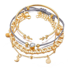 Load image into Gallery viewer, 18K Gold Plated Roman Bracelet 4 Piece Set With Swarovski Crystals