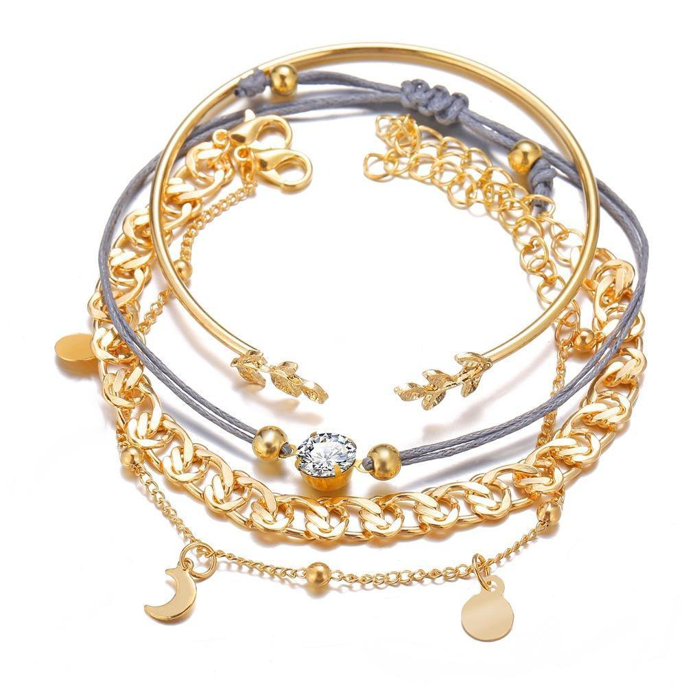 18K Gold Plated Roman Bracelet 4 Piece Set With Swarovski Crystals