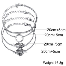 Load image into Gallery viewer, Bracelets 18K White Gold Plated 4 Piece Hamsa Set Bracelets