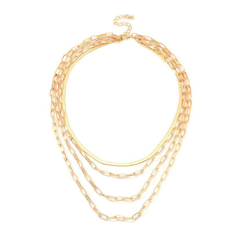 Necklaces 18K Gold Plated 4 Piece Chain Link Set Necklace