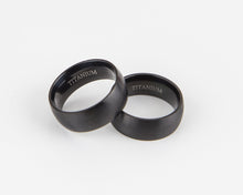 Load image into Gallery viewer, Wide Black Brushed Matte Titanium Ring