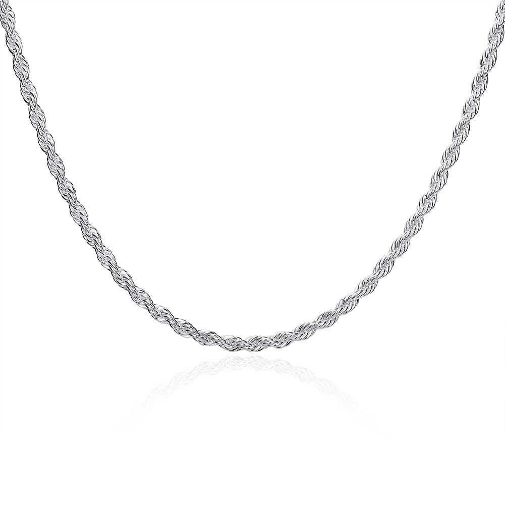 4mm Singapore Chain Necklace in 18K White Gold Plated