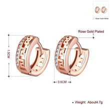 Load image into Gallery viewer, 18K Rose Gold Plated Swarovski Greek Style Huggie Earrings