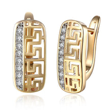 Load image into Gallery viewer, 18K Gold Plated with Swarovski Roman Design Leverback Earring