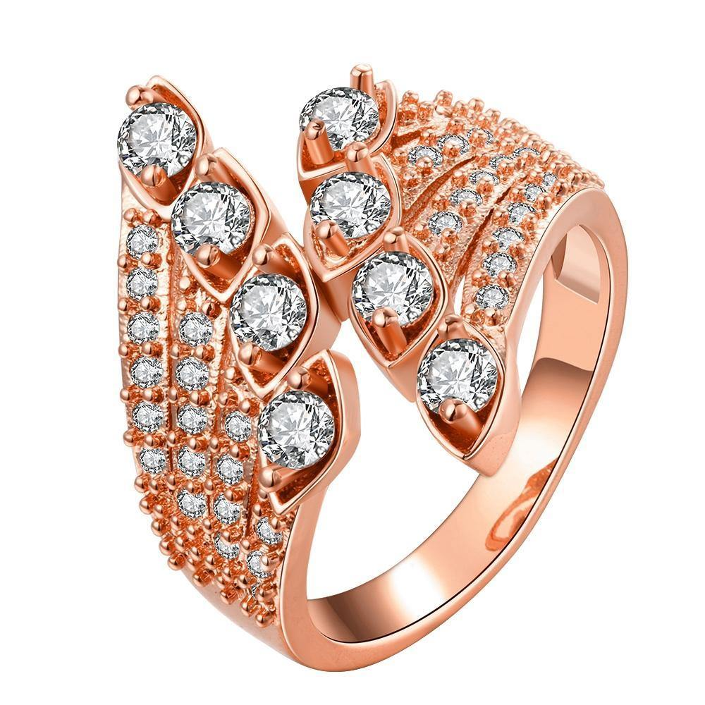 18K Rose Gold Plated Coralie Feathered Swarovski Cocktail Ring