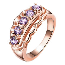 Load image into Gallery viewer, 18K Rose Gold Plated Adrienne Purple Swarovski Ring