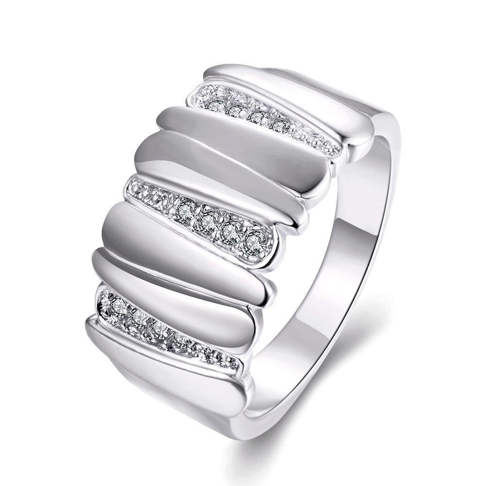 18K White Gold Plated Marielle Asymmetrical Ring With Swarovski