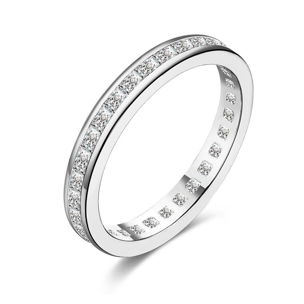 18K White Gold Plated Classic Pave Swarovski Ring