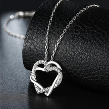 Load image into Gallery viewer, Necklaces Duo Intertwined Heart Shaped Swarovski Necklace in 18K White Gold