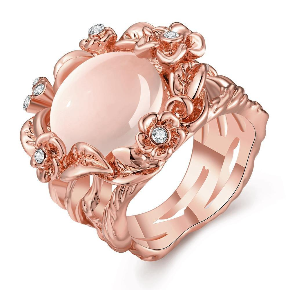 18K Rose Gold Plated Opal Floral Statement Ring