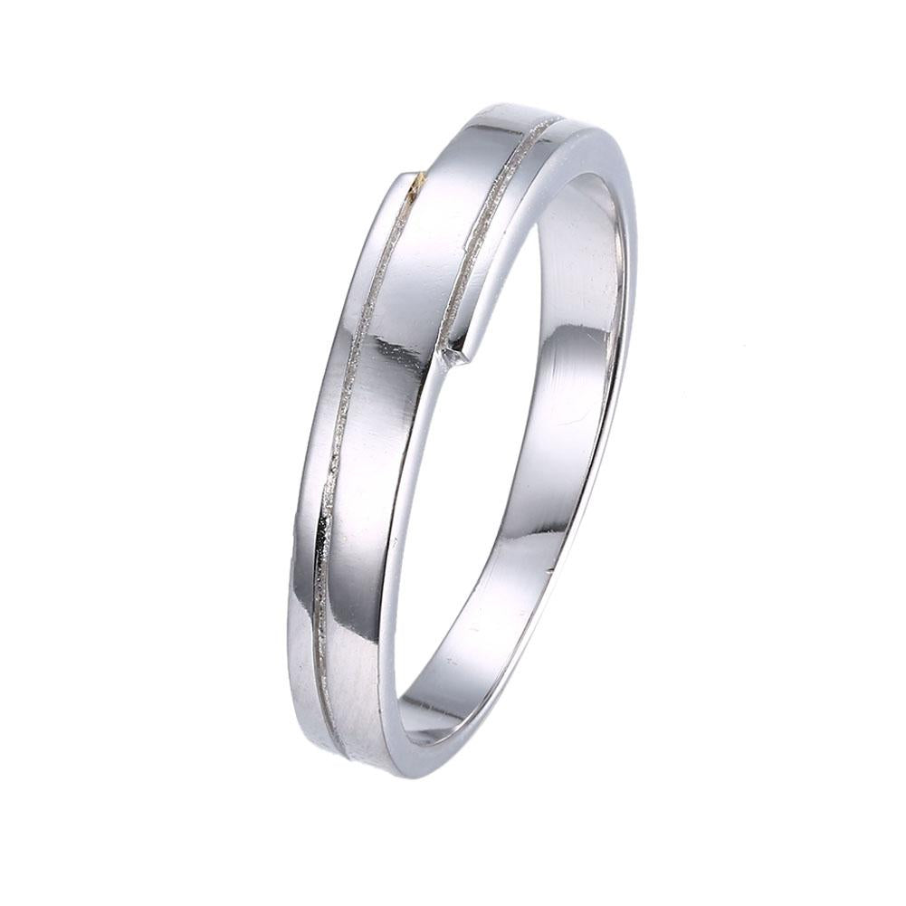 Silver Plating Duo Design Thick-Cut Band Ring