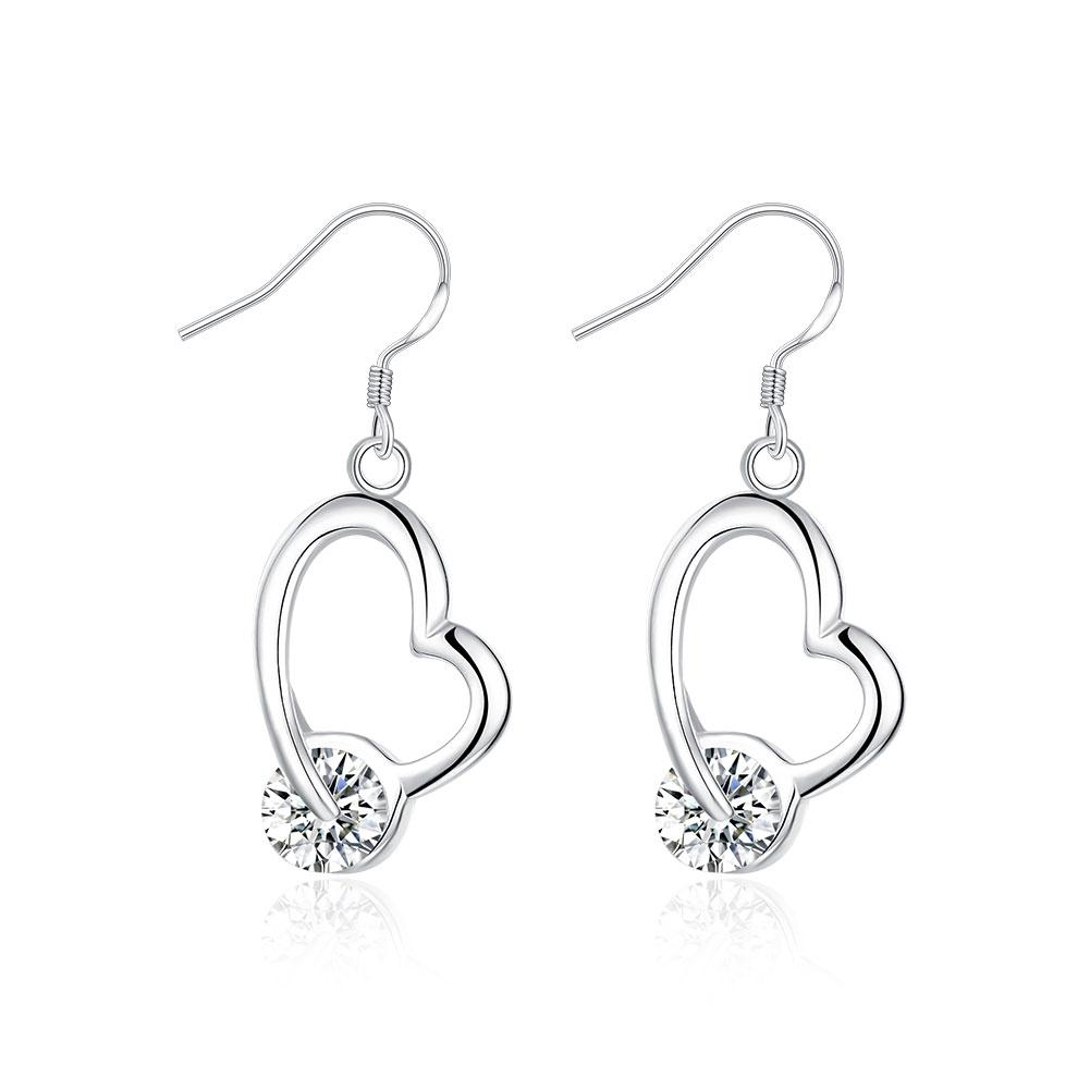 Heart Drop Earring in 18K White Gold Plated