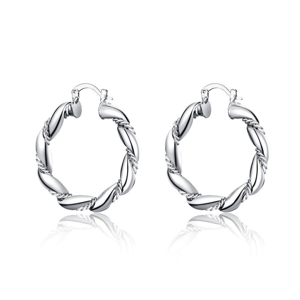 18K White Gold Plated French Lock Hoop Earrings