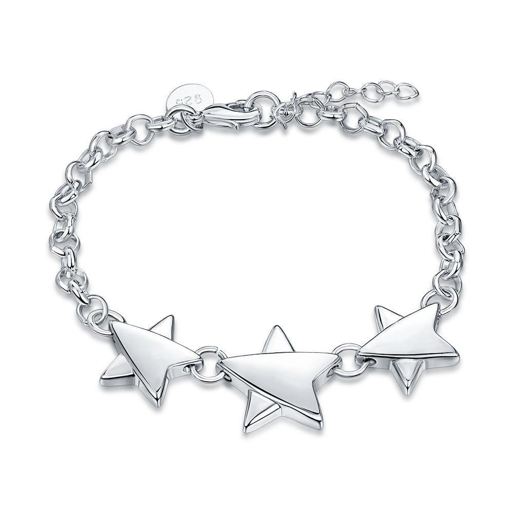 18K White Gold Plated Tri Star Bracelet