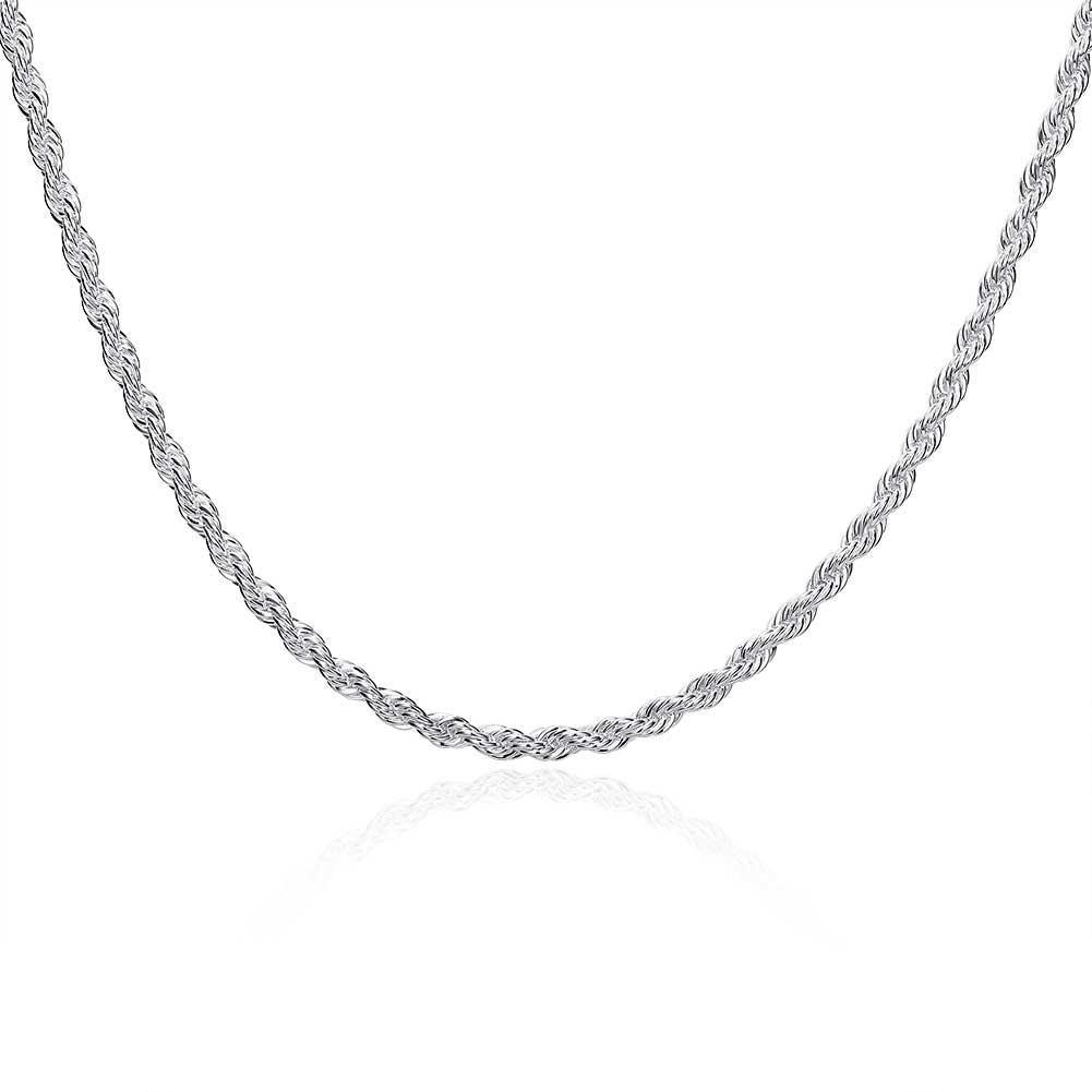 18K White Gold Plated 4mm Singapore Chain Necklace