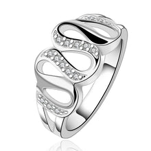 Load image into Gallery viewer, Silver Plated White Swarovski Multi-Curved Loop Ring