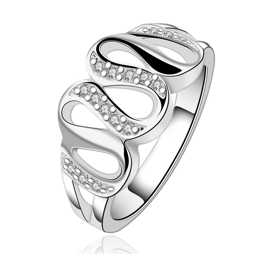 Silver Plated White Swarovski Multi-Curved Loop Ring