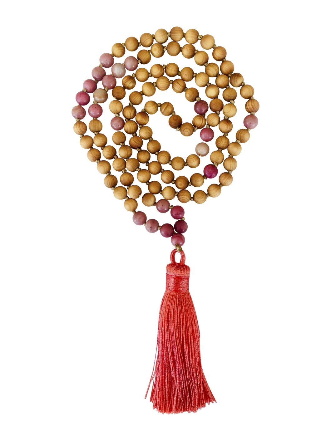 Rhondite and Sandalwood First Aid Mala Beads
