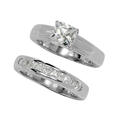 Rings Classic Princess Cut Prong Set Wedding Set