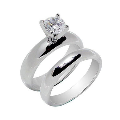 Rings High Prong Set Round Solitaire Wedding Set Rings