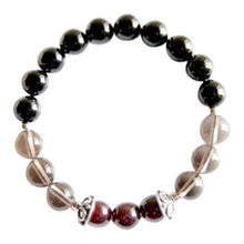 Load image into Gallery viewer, Garnet, Smoky Quartz & Black Onyx Sterling Silver Chakra Bracelet