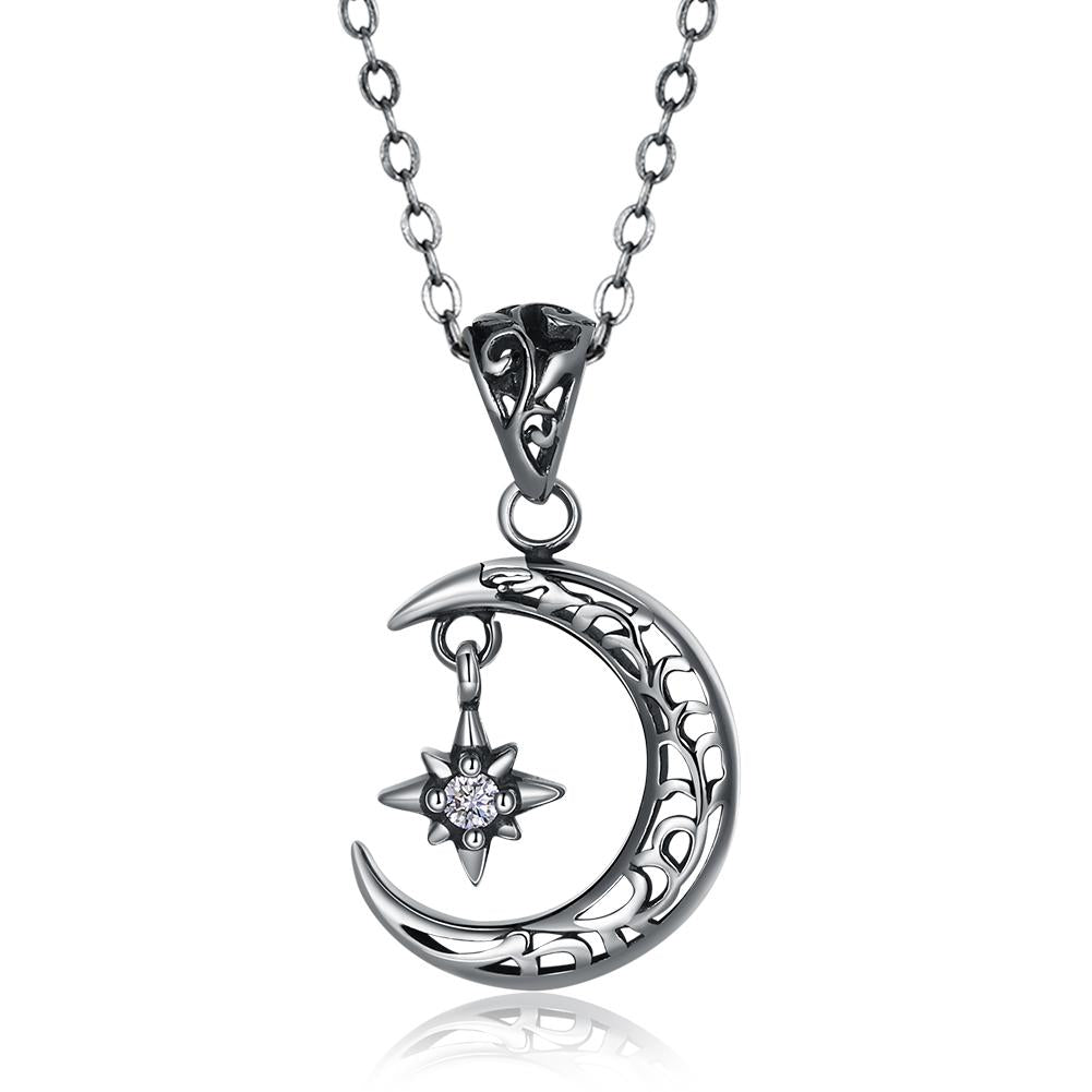 Cresent Moon Sterling Silver Necklace