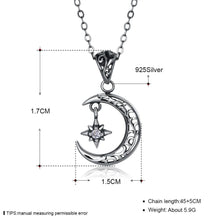 Load image into Gallery viewer, Cresent Moon Sterling Silver Necklace