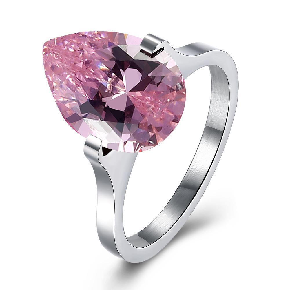 Rings 18K White Gold over Stainless Steel 1.00 Ct Pink Pear Cut Swarovski