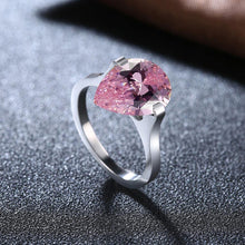 Load image into Gallery viewer, Rings 18K White Gold over Stainless Steel 1.00 Ct Pink Pear Cut Swarovski