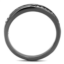 Load image into Gallery viewer, Light Black Stainless Steel Ring with CZ Crystals