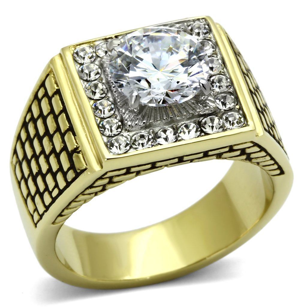 Square Gold Plated Stainless Steel CZ Ring
