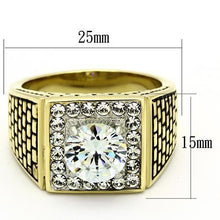 Load image into Gallery viewer, Square Gold Plated Stainless Steel CZ Ring