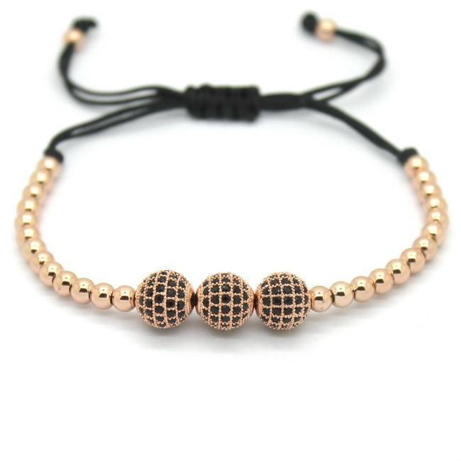 18k Gold Plated Round Beads 3 Diamond Unisex Bracelets