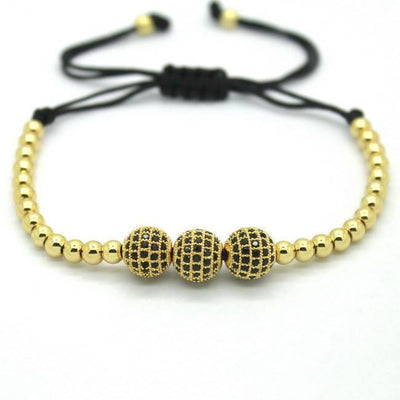 18K Gold Plated Beads 3 Diamond Ball Unisex Bracelet [4 Variants] - Bracelets - Ring to Perfection
